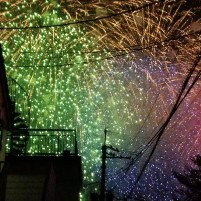 松戸市花火大会(駐車場からの眺め)